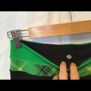 lululemon athletica Pants - Lululemon yoga pants, black, green plaid, rev. EUC